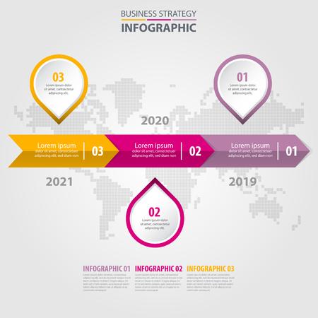 Business Infographics, strategy, timeline, design template illustration. Vector eps10. Çizim