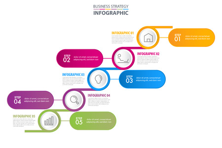Business Infographics, strategy, timeline, design template illustration. Vector eps10. Stok Fotoğraf - 124649218
