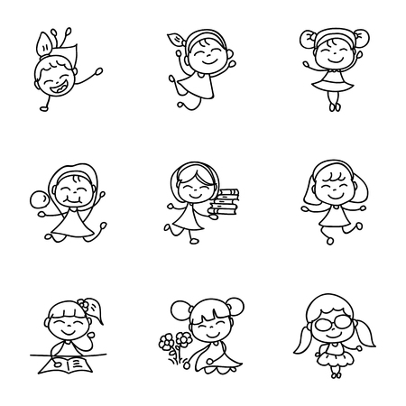 hand drawing cartoon character happy kids, girls, abstract people vector illustration. eps10 Çizim