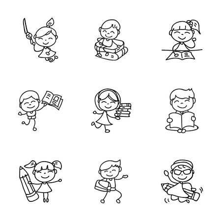 hand drawing cartoon character happy kids, boys and girls back to school, abstract people vector illustration. eps10