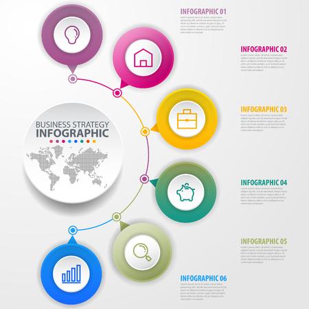 Infografía de negocios, estrategia, línea de tiempo, ilustración de plantilla de diseño. Eps10 vector.