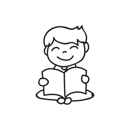 hand drawing cartoon character happy kids, boys, abstract people vector illustration. eps10