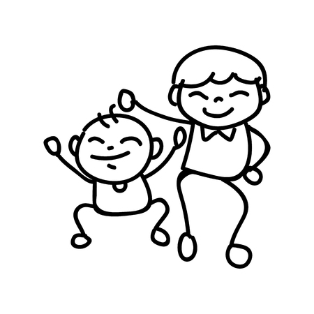hand drawing abstract cartoon character happy people family happiness concept vector illustration eps10
