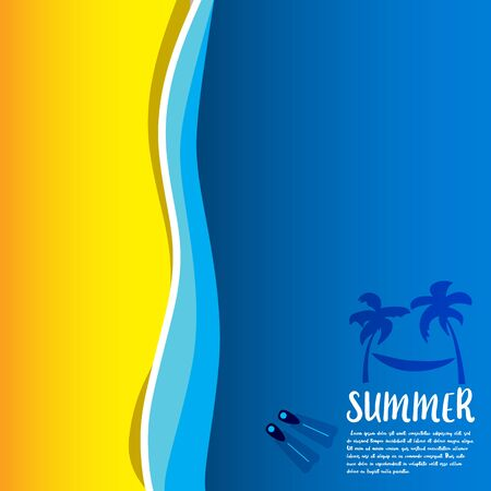 Summer vector illustration concept of happiness and holiday background.