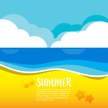 Summer vector illustration concept of happiness and holiday background. EPS 10 Çizim