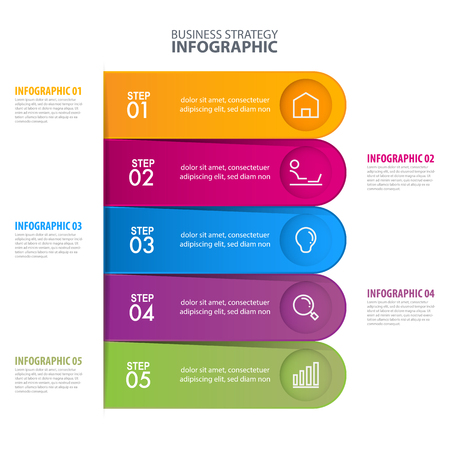 Business Infographics, strategy, timeline, design template illustration. Vector Banco de Imagens - 127962553