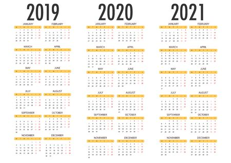Calendar for 2019 2020 2021 on white background. Week Starts Monday. Simple Vector Template Illustration