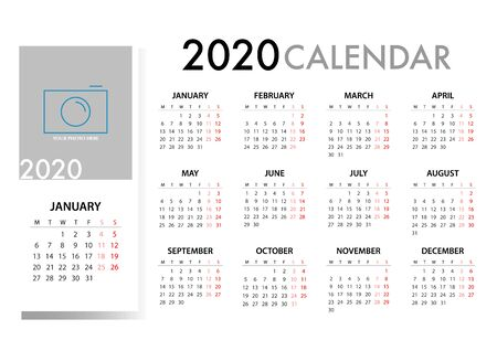 Calendar for 2020 on grey background with quote message. Week Starts Monday. Simple Vector Template Stok Fotoğraf - 127962564