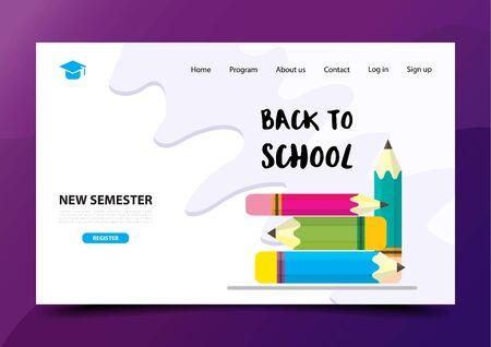 Back to school Education landing page design template. Vector illustration EPS10