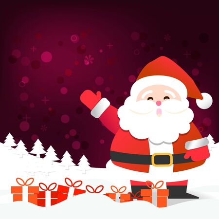 Merry Christmas happy Santa Claus Happy New Year on Red and white snow background vector illustration design, abstract greeting and celebration card Stok Fotoğraf - 134470637