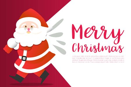 Merry Christmas happy Santa Claus Happy New Year on Red and white snow background vector illustration design, abstract greeting and celebration card Stok Fotoğraf - 134470705