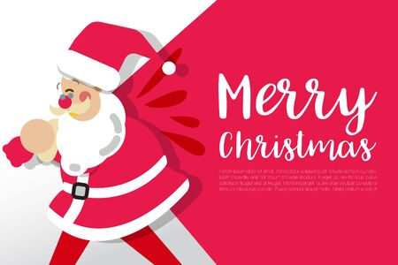 Merry Christmas happy Santa Claus Happy New Year on Red and white snow background vector illustration design, abstract greeting and celebration card