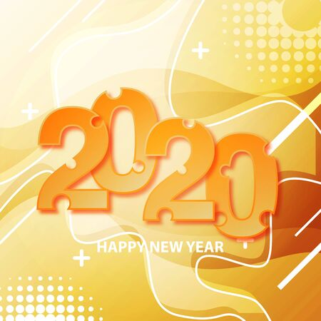 Happy New Year 2020 Year of the rat graphic banner vector illustration abstract digital background