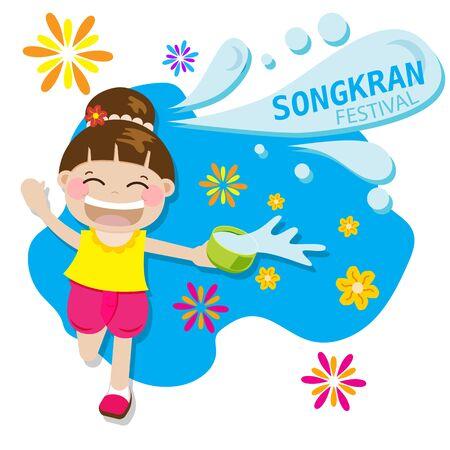 Chica tailandesa feliz salpicaduras de agua jugando para el festival Songkran en Tailandia para el año nuevo tailandés durante el caluroso verano en la ilustración de vector de 13 de abril