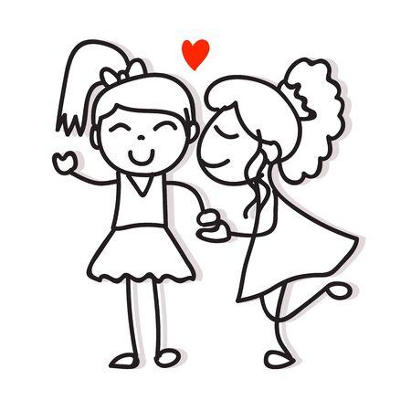 Das gleiche Paar liebt zwei Frauen, die sich küssen und die Hand halten, die Zeichentrickfigur-Stolz-Konzept für den Valentinstag zeichnet