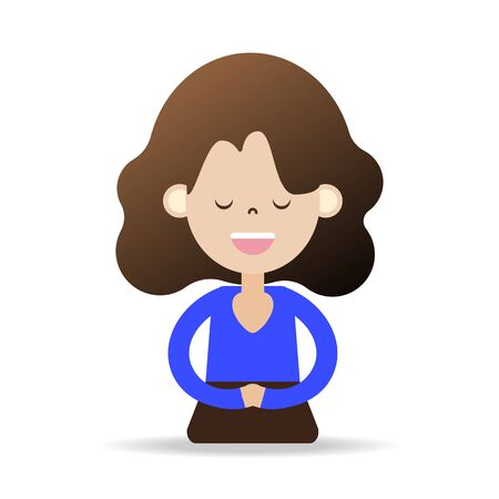 meditation cartoon character happy people happiness peace and calm vector illustration for mindfulness
