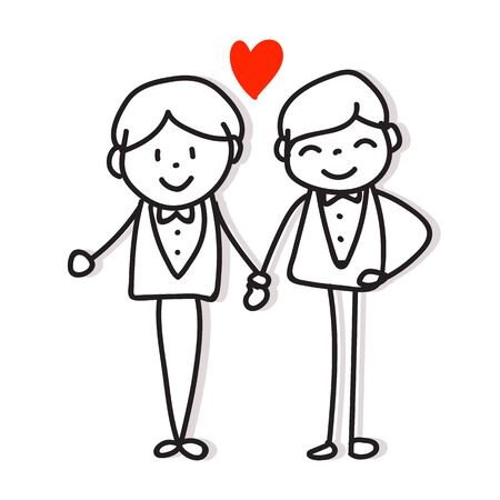 same sex couple love hand drawing cartoon character pride concept for valentines day Illustration