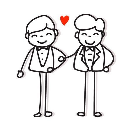 same sex couple love hand drawing cartoon character pride concept for valentines day Ilustração
