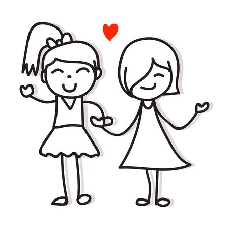 same couple love two girls holding hand hand drawing cartoon character pride concept for valentines day Ilustração Vetorial
