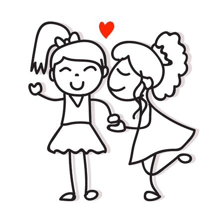 same couple love two women kiss and holding hand hand drawing cartoon character pride concept for valentines day