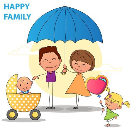 hand drawing happy family mom and dad with daughter giving a balloon to new born baby. vector illustration cartoon character abstract people for design Zdjęcie Seryjne