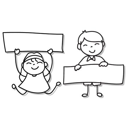Hand drawing happy boy and girl holding blank paper for message. Abstract people, happiness concept. Vector illustration. for graphic decoration