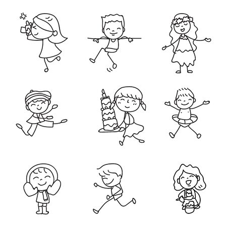 Set of hand drawing doodle happy kids cartoon character abstract people match stick style vector illustration art and graphic decoration
