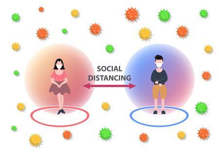 Concepto de distanciamiento social. La gente usa máscara de lucha covid-19. Brote de coronavirus pandémico. Personaje plano. Gente abstracta. Salud y medicina. Diseño plano. Ilustración vectorial.