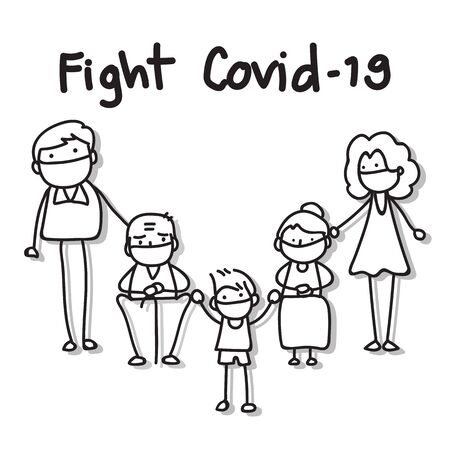 hand drawing cartoon character people in family wear mask protection fight Covid-19. vector illustration eps10.