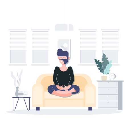 People stay at home practice meditation during coronavirus outbreak. Covid-19. Flat character abstract people concept. Health care and medical vector.
