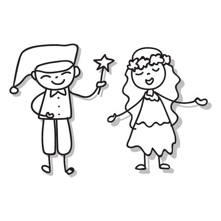 Hand drawing cartoon character abstract people happy kids playing together vector illustration for graphic decoration. Boy and girl singing and greeting. Celebration and party. 写真素材 - 143410174