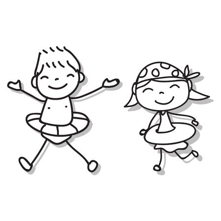Hand drawing cartoon character abstract people happy kids playing together vector illustration for graphic decoration. Boy and girl in swimming suit.