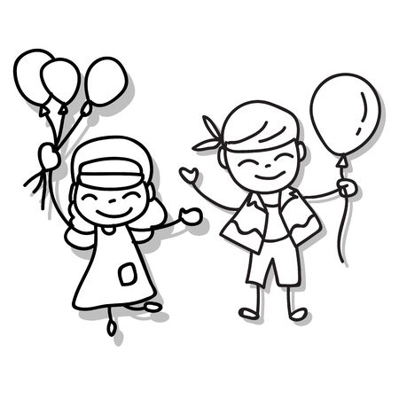 Hand drawing cartoon character abstract people happy kids playing together vector illustration. Boy and girl holding balloons with happiness and smile.