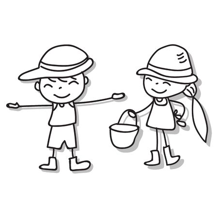 Hand drawing cartoon character abstract people happy kids playing together vector illustration for graphic decoration  イラスト・ベクター素材