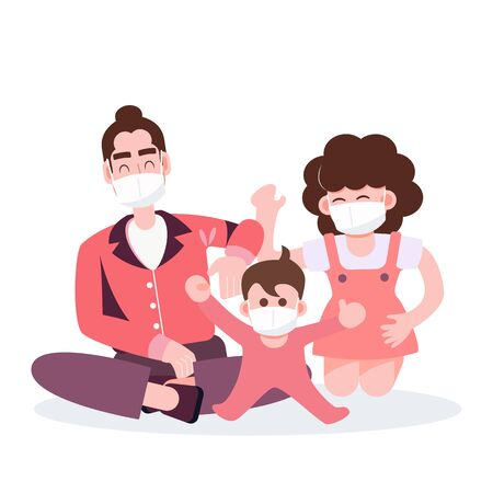 Happy family. Mother father and kid playing staying at home during covid-19 pandemic coronavirus outbreak. Flat character design healthcare and medical vector