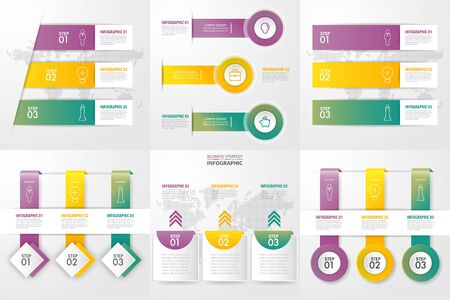 Set of business infographics design template for meeting presentation. graphic vector illustration. 向量圖像