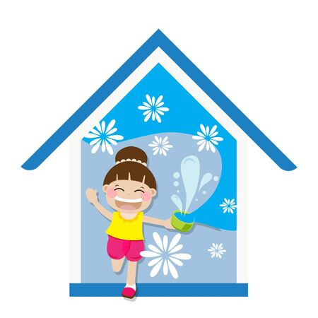 Stay home save life concept. Thai New Year during covid-19 coronavirus outbreak. Girl stay at home playing splash water for Songkran festival in Thailand. Summer time.  イラスト・ベクター素材