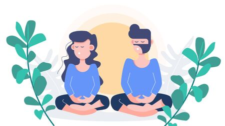 Man and woman stay at home sitting meditation. Vesak day. covid-19 coronavirus outbreak. flat character design abstract people. health care and medical vector.
