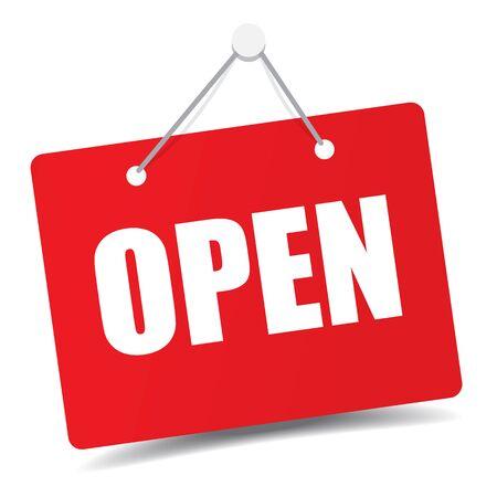 """Business """"open"""" door signage for unlock marketing promotion Premium vector design Векторная Иллюстрация"""