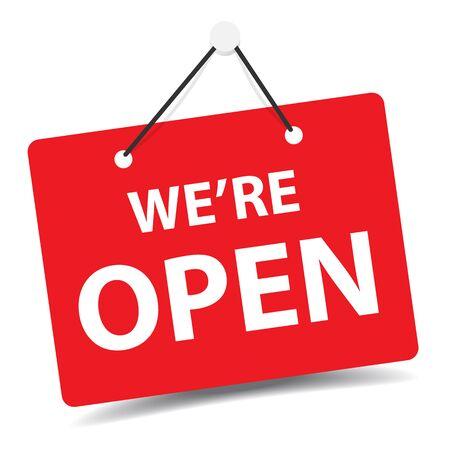 We are open business premium door signage for unlock marketing promotion Premium vector design Vector Illustratie