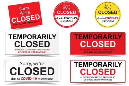 Set of seven Sorry we are closed closed sign due to covid-19 restrictions coronavirus outbreak vector. Door sign, sticker, laser cut for shop openning