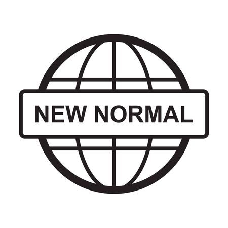 New normal concept word lettering and world globe sign icons for post covid-19 coronavirus disruption vector for web, print, banner, flyer 向量圖像