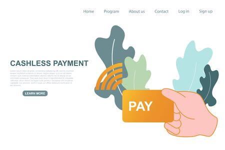 Contactless, cashless payment buying illustration. Digital disruption, social distancing, new normal concept prevention and protection for reopening after covid-19, coronavirus outbreak. Website landing page. Abstract vector.