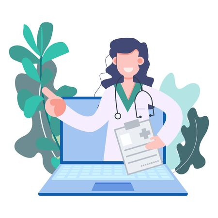 Woman doctor making telemedicine online consulting at home over laptop, notebook during covid-19 coronavirus outbreak. Online medicine consultant concept vector illustration. Health care and medical technology.