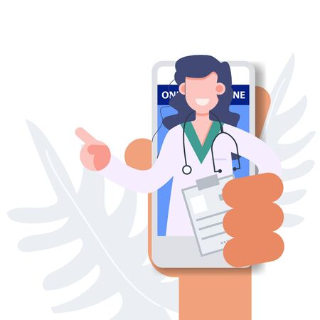 Female doctor profession pop up from mobile phone online medicine from anywhere. Health care and medical flat character vector illustration