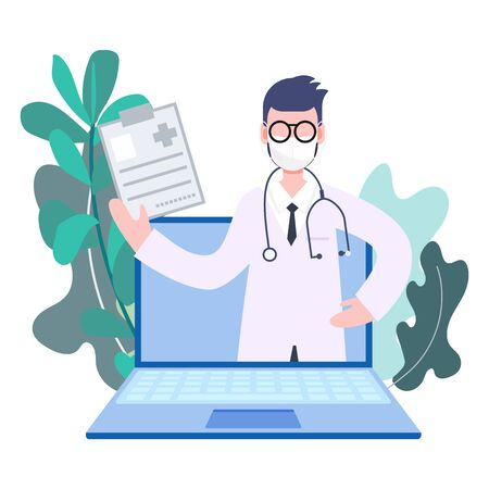 Male doctor profession pop up from laptop online medicine from anywhere. Health care and medical flat character vector illustration Иллюстрация