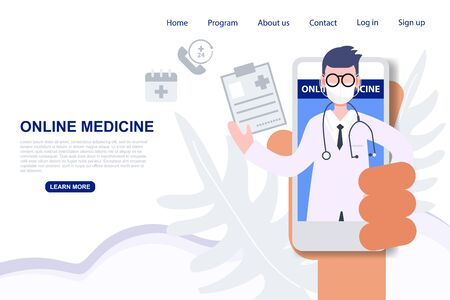 Male doctor profession pop up from mobile phone online medicine from anywhere. Health care and medical flat character vector illustration Иллюстрация