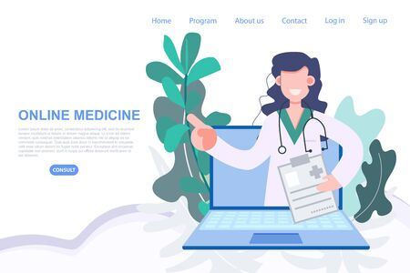 Female doctor profession pop up from laptop online medicine from anywhere. Health care and medical flat character vector illustration