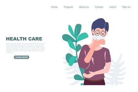 Old woman get cough landing page. Health care and medical flat character vector illustration