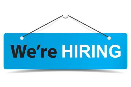 We are hiring premium door signage for business unlock marketing promotion Premium vector design